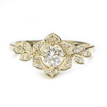 Delicate Lily Ring, Art Deco Flower Ring, Rose Gold Engagement Ring, Vintage Rings, 0.5 CT Diamond Ring, Unique Leaf Ring