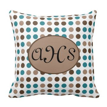 Teal Brown Tan Polka Dots on White Monogram Pillow