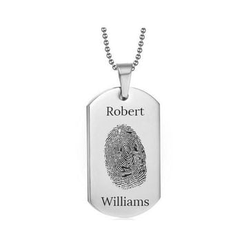 Stainless Steel Fingerprint Dog Tag Silver Style 2