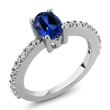 1.33 Ct Oval 7x5mm Blue Simulated Sapphire and Created Sapphire 925 Silver Ring