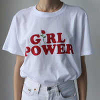 """Girl power"" Fashion hot short sleeve top T-shirt White"