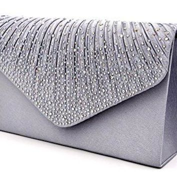 Nodykka Women Evening Envelope Rhinestone Frosted Handbag Party Bridal Clutch Purse