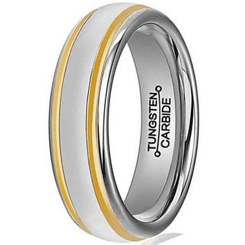 6mm Tungsten Carbide Ring Simple Style Gold Plated Unisex Wedding Engagement Band (Platinum 14k, 18k and 24k Yellow Gold)
