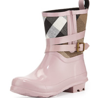 Holloway Mini Check Rubber Rainboot, Pale Orchid, Youth - Burberry