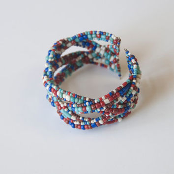 Native American Beaded Cuff Bracelet / Red White and Blue Tribal Patriotic Jewelry Wide Seed Bead Cuff Bracelet / turquoise boho tribal