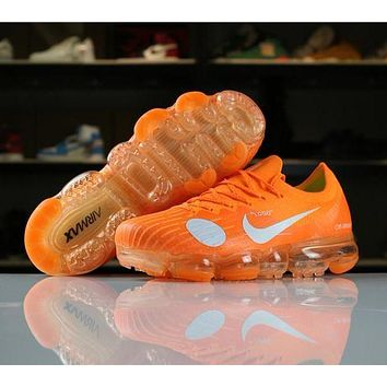 OFF White Nike Air VaporMax Flyknit OG Orange 2018 World Cup 849558-810 Sport Running Shoes
