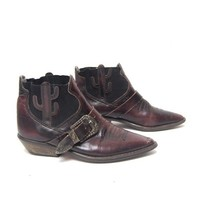 vintage 80s OXBLOOD dark red CACTUS cutout ankle BUCKLE booties size 6 6.5