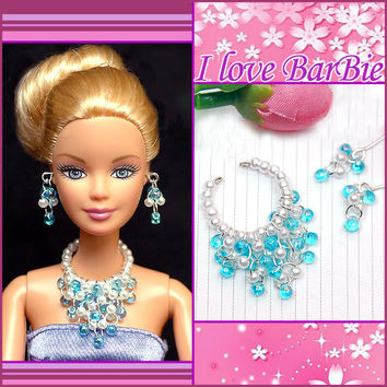 barbie dolls jewelry set barbie necklace and earring for barbie dolls