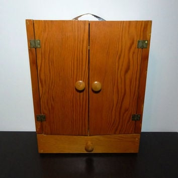 Vintage Wooden Closet/Wardrobe/Armoire for Doll Clothes - Handmade Wooden Doll Clothes Closet Carrier - Fits Barbie Clothes