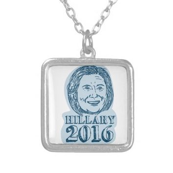 Hillary Clinton President 2016 Drawing Square Pendant Necklace
