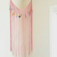 Pink Macrame Curtain- Bohemian Decor- Modern Macrame- Pink Wall Accent- Boho Decor with Feathers- Handmade Curtain- Hippie Decor- BohoChic
