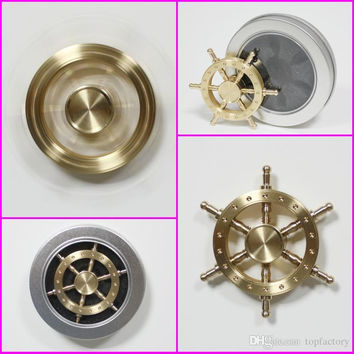 Luxury Copper helm Hand Spinners with retail box Rudder Style Six Arm Fingertip Gyro fidget spinners toy helmsman spinners