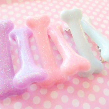 Small Pastel Goth Bone Hair Clips (Pair)