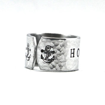 Anchor Ring - Hand Stamped Ring - Nautical Ring - Nautical Jewelry - Anchor Jewelry - Hold Fast Quote - Sailor Jewelry - Sailor Ring