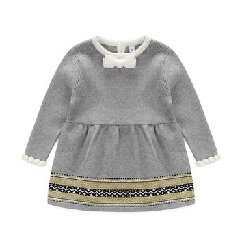 Newborn Baby Girls Sweater Princess Dress Infant Knit Dress Little Girl Spring Autumn Winter Jersey Dress