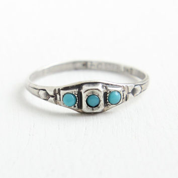 Vintage Sterling Silver Simulated Turquoise Ring - 1930s Art Deco Hallmarked Uncas Three Stone, Blue Glass Cabochon Jewelry