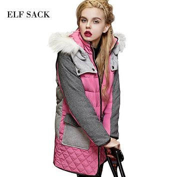 Elf SACK whisted winter female fashion long-sleeve all-match fashion fur collar color block down coat female long design