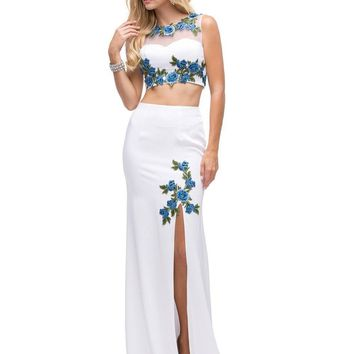 Two-Piece floral Prom Dress  DQ9820