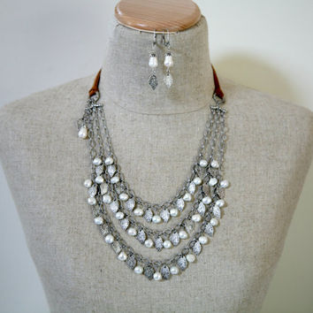 Dangling Leaf Freshwater Pearl Bold Bib Style Leather Cord Antiqued Silver Three Strand Necklace Matching Earrings