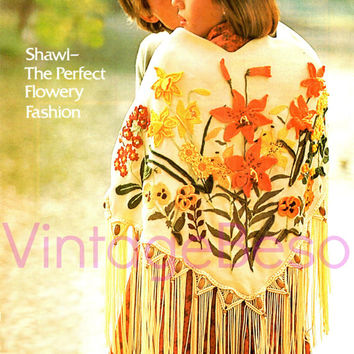 Instant pdf Flowery Shawl Pattern of 3 Crafts EMBROIDERY MACRAME CROCHET Creeping Jenny Polyanthus Daffodil Lily Tiger Lily Pansy Marigold