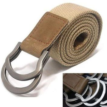 LMFYN5 Fashion men Buckle Waistband Handmade Waist Canvas Leather belt Costume