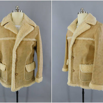 Vintage 1970s Coat / 70s Mens Faux Suede Coat / Fingerhut Fashions / Micro Suede Jacket / Sherpa Lining / Vintage Menswear