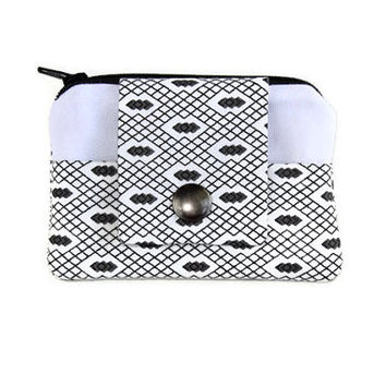 Coin Purse & Card Holder in White and Black, Stylish Pocket Wallet, Card Case, Zippered Pouch, Free Shipping