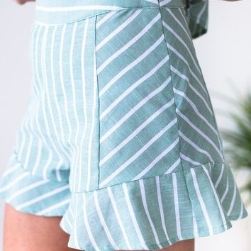 Palm Springs Stripes Ruffle Shorts