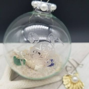 Hawaiian Christmas, Personalized Sea Turtle Gifts, Beach Lovers Gift, Sea Turtle Ornament, Etched Glass Ornament, Honu Ornament