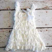 Lace Baby Dress  White Dress  Girls Dress  by PoshPeanutKids