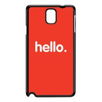 Hello Black Hard Plastic Case for Galaxy Note 3 by textGuy