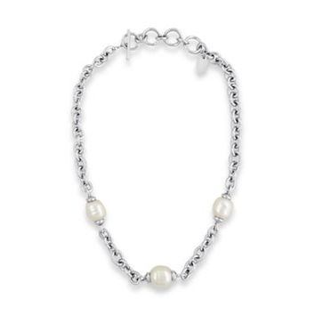 Majorica Stainless Steel Graduated Simulated Baroque Pearl 17-Inch Chain Necklace