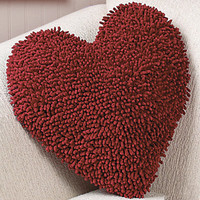 Red Heart Shaped Chenille Pillow.  14""