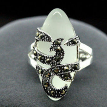 Free shipping >>>>>>Rare 11mmX26mm White Opal Inlay Marcasite 925 Sterling Silver Ring 7/8/9/10