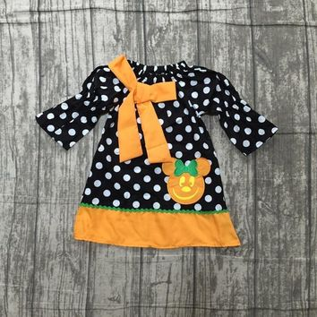 Halloween new Fall/winter long dress baby girls black polka dot pumpkin clothing wear woven children clothes knee length A-line