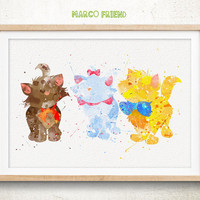 Marie, Berlioz, Toulouse - Watercolor, Art Print, Home Wall Art, Nursery Decor, Gifts, Watercolor Print, Disney Cat Poster