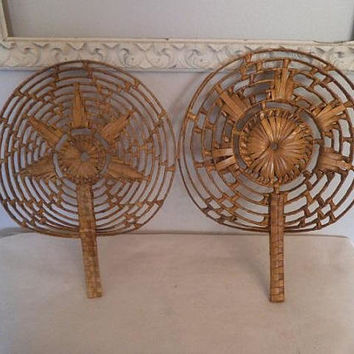 Vintage  Woven Bamboo Circle Fan Wall Hangings ~ Jungalow Wall Art