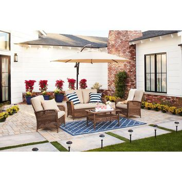 VONR3I Cosco Outdoor Steel Woven Wicker Patio Conversation Set with Coffee Table
