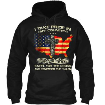 I take pride in my country i stand for the flag kneel  Pullover Hoodie 8 oz