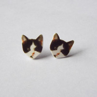 Black and White Kitten Stud Earrings
