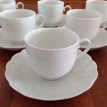 Kaiser ROMANTICA Coffee / Tea Cups and Saucers All White Scalloped - W Germany (Select 1-10 Sets)