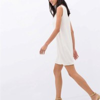 ZARA ECRU CREAM RIBBED DETAIL DRESS WITH PEEP HOLE SIZE S SMALL REF 1403/051