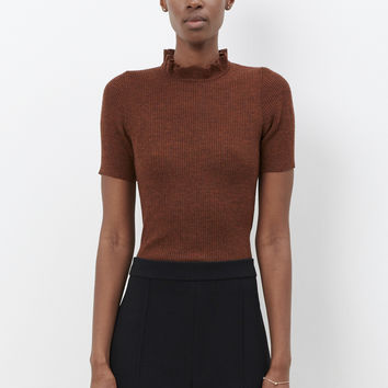 Totokaelo - Marni Tobacco Ruffled Neck Sweater - $760.00