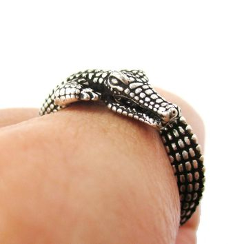 3D Crocodile Alligator Shaped Animal Wrap Around Ring in Silver | US Size 5 to 9 Available