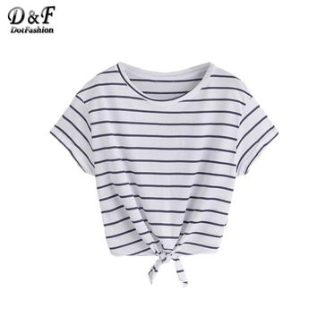 Striped Brief T-shirt Women White Knot Front Casual Short Sleeve Basic Summer Tops Fashion Cute Cotton T-shirt