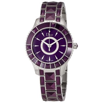 Dior New Christal Purple Diamond Dial Ladies Watch CD143112M001