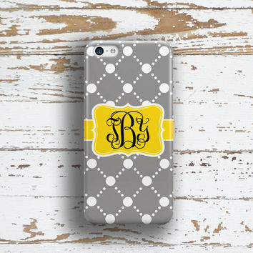 Womens Iphone 6 Plus case, Pattern Iphone 5c case, Preppy iPhone 5s case, Fashion iPhone 6s case, Gift for BFF, Gray white yellow (1024)