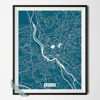 Exeter Street Map Print, England Poster, Exeter Poster, England Map Print, United Kingdom, Home Decor, Wall Art, Room Decor, Back To School