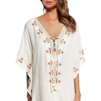 beach dress pattern Embroidered Cover ups 2016 Sexy V-neck Beach Swimsuit Lace-up Coverup Tunic Beach Tunic Sarong Bathing Suit