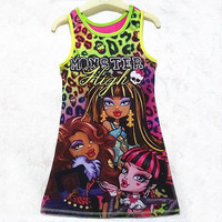 New Fashion Monster School Kids Girls Dress clothes sleeveless kids Summer Casual dresses children's clothing 4-14Y